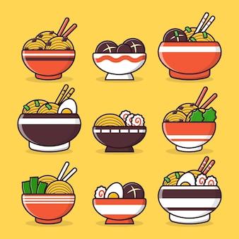 Ramen japonais avec collection d'illustrations de dessins animés de baguettes