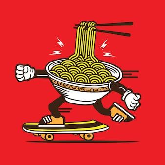 Ramen noodle bowl skateboarding character design
