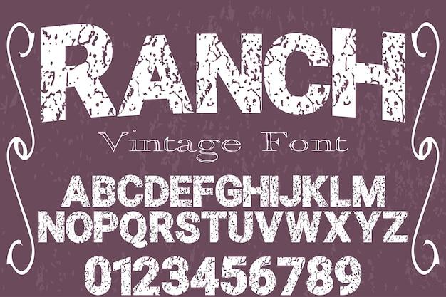Ranch de conception typographique vecteur main typographie