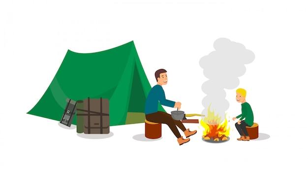 Randonnée avec arrêt du camping pour enfants et adultes.