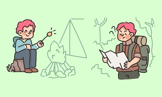Randonnée aventure en forêt homme regardant la carte et les activités du camp de feu