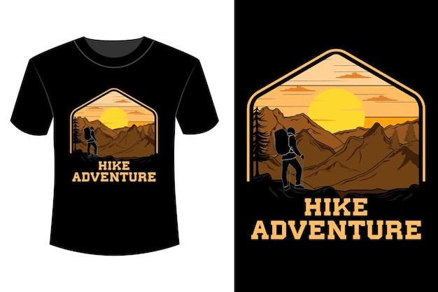 Randonnée aventure t-shirt design vintage rétro