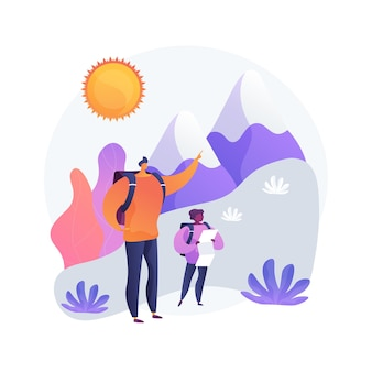 Randonnée d'été. randonnée en montagne, activité de plein air, vacances en famille. père et fils, randonneurs avec carte explorant l'environnement naturel.