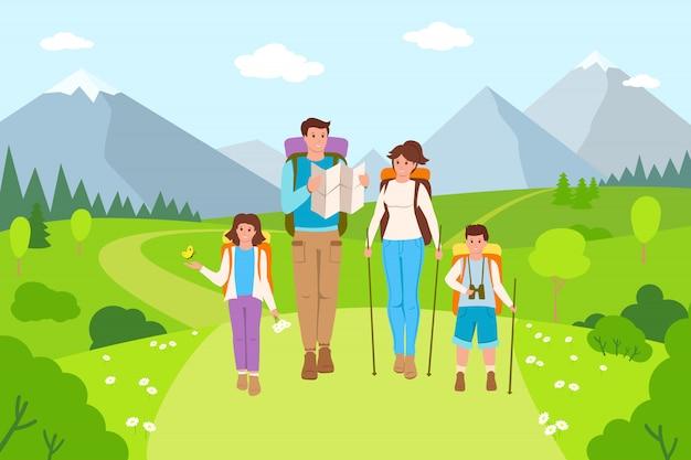 Randonnée familiale dessin animé de paysage de montagne. père, mère et enfants voyageant l'été