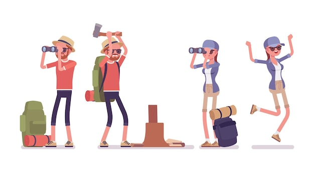 Randonnée homme, femme avec jumelles, hache. touristes avec du matériel de randonnée, portant des vêtements pour les promenades en plein air, le sport, les loisirs. illustration de dessin animé de style plat vecteur isolé, fond blanc