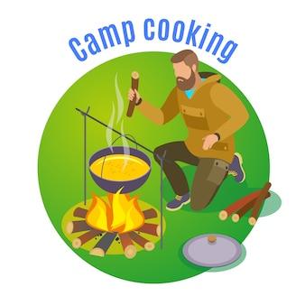 Randonnée illustration isométrique avec feu de camp et cuisson des images plates d'étain et de broussailles avec l'homme et le texte