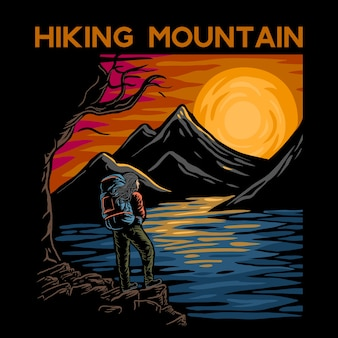 Randonnée en montagne avec fond fleuves, montagnes et lacs.