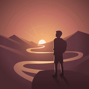 Randonneur, contempler, scène, paysage coucher de soleil