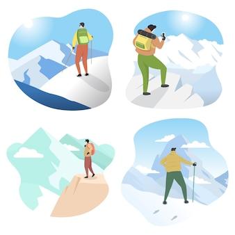 Randonneur homme alpiniste debout sur le haut de la glace neige montagne plat illustration