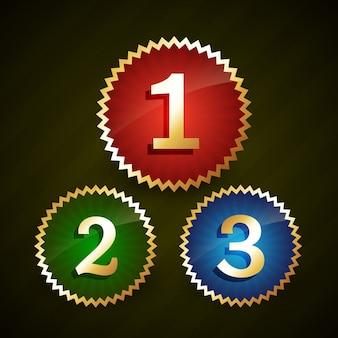 Rang numéro un deux trois avec des bordures en or