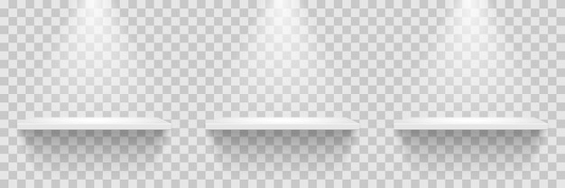 Rangée d'étagères blanches vides isolée sur fond transparent