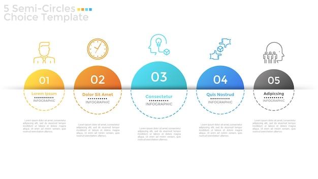 Rangée horizontale de 5 éléments semi-circulaires numérotés de différentes couleurs et tailles, symboles linéaires et zones de texte. concept de cinq options à choisir. disposition de conception infographique. illustration vectorielle.