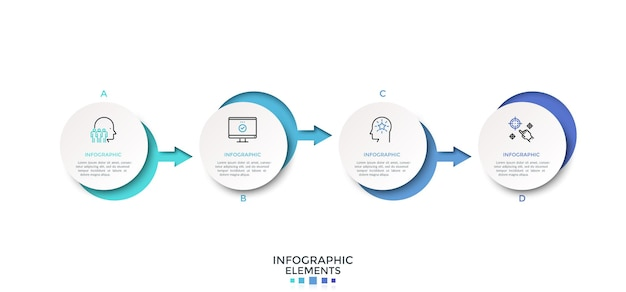 Rangée horizontale de cinq éléments circulaires blancs en papier reliés par des flèches colorées. modèle de conception infographique propre. illustration vectorielle moderne pour la présentation de l'entreprise, barre de progression, organigramme.