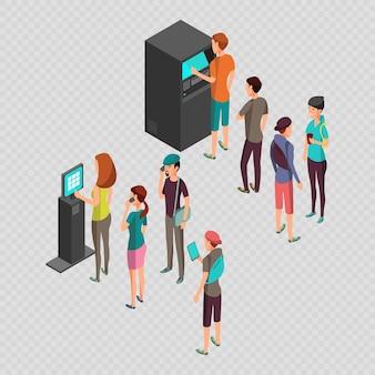 Rangée de personnes en attente à la machine de paiement atm