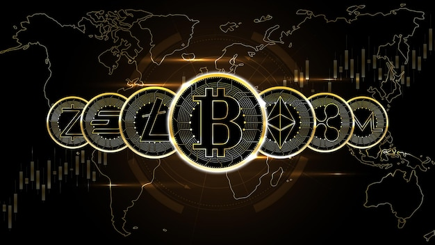 La rangée de pièces de monnaie de crypto-monnaie célèbres fond de technologie de réseau d'argent numérique