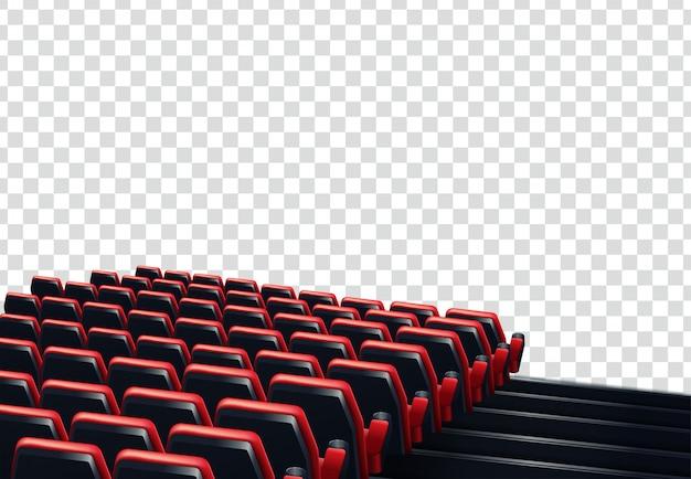 Rangées de sièges de cinéma ou de théâtre rouges devant un fond transparent