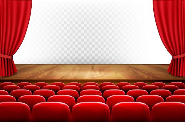 Rangées de sièges rouges de cinéma ou de théâtre devant un fond transparent. vecteur