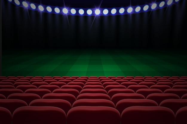 Rangées de sièges rouges sur le stade de football. fond de football