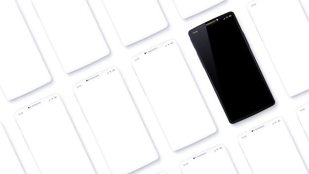 Les rangées de téléphones portables sont placées en biais par rapport au point de vue. ensemble de smartphones imaginaires. le téléphone portable noir semble spécial parmi les appareils blancs génériques. vue de dessus en angle