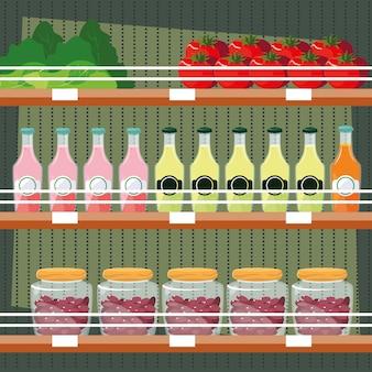 Rangez des étagères en bois avec des jus de fruits en bouteille et des aliments frais