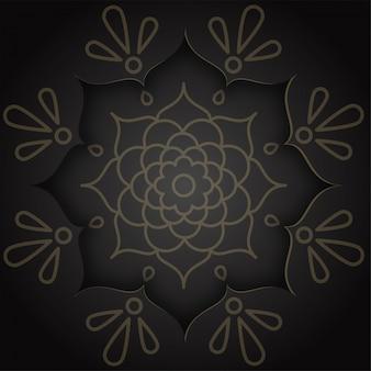 Rangoli indien et motif mandala sur fond noir