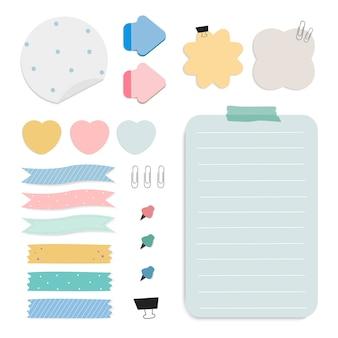 Rappel de papier coloré notes vectorielles ensemble