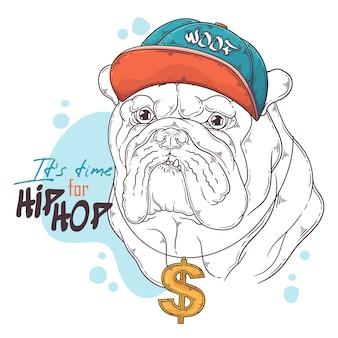 Rappeur bulldog dessiné à la main avec accessoires