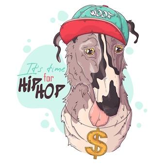 Rappeur de chien borzoi avec accessoires