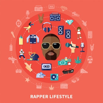 Rappeur lifestyle round composition