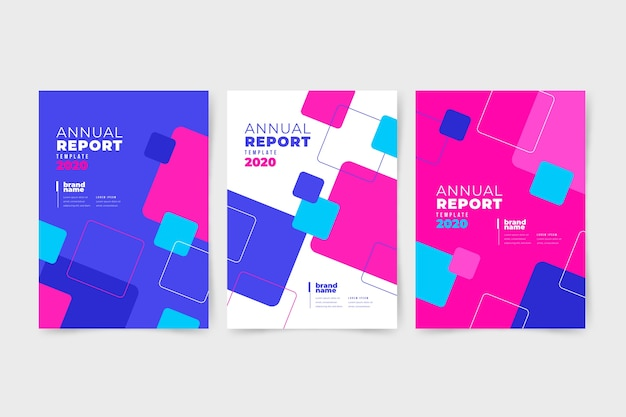 Rapport annuel abstrait coloré avec des carrés