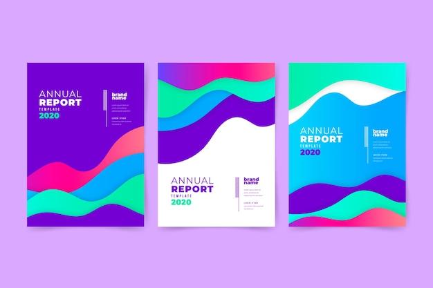 Rapport annuel abstrait coloré avec effet liquide