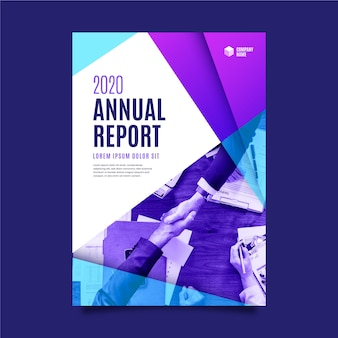 Rapport annuel abstrait de couleurs bleu et violet dégradé