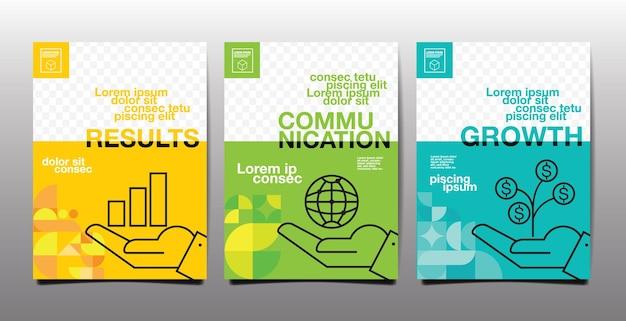 Rapport annuel, avenir, entreprise, conception de mise en page de modèle, livre de couverture, ton de couleur verte