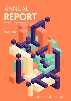 Rapport annuel d'entreprise moderne avec forme géométrique isométrique