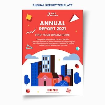 Rapport annuel de l'immobilier géométrique abstrait plat