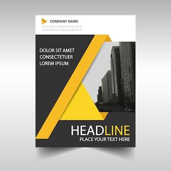 Rapport annuel jaune et noir modèle de couverture du livre