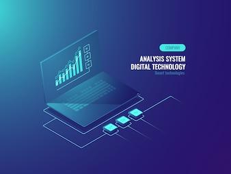 Rapport Bigdata, statistiques de données sur écran d'ordinateur portable, Business et tableaux de données