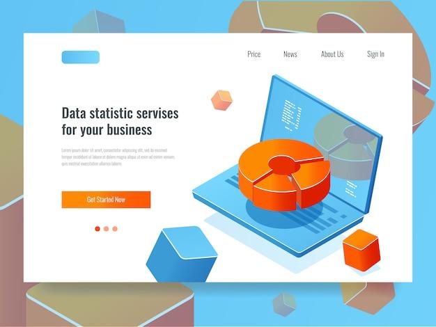 Rapport de données, analyse et analyse commerciales, ordinateur portable avec diagramme en cercle, programmation