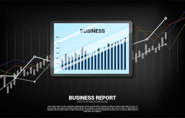 Rapport de graphique d'entreprise dans la tablette avec l'arrière-plan du graphique.