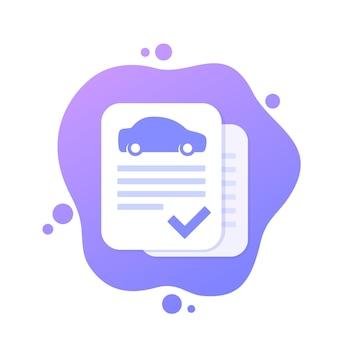 Rapport d'historique de voiture, icône de vecteur d'enregistrement approuvé