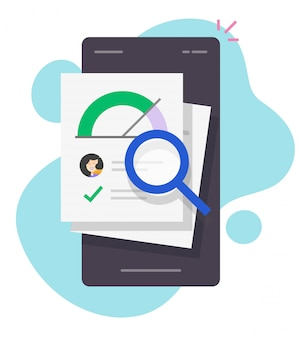 Rapport de notation de prêt de pointage de crédit recherche de vérification financière en ligne sur smartphone