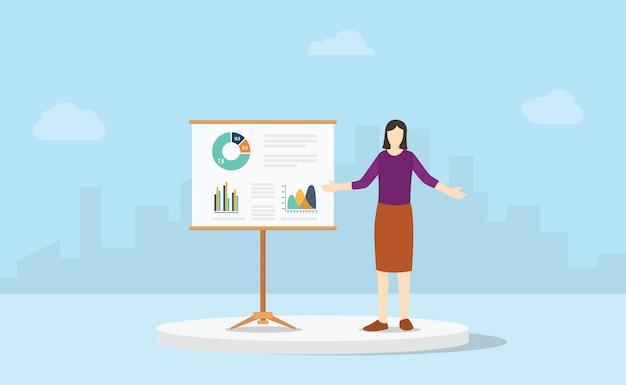 Rapport de présentation d'entreprise femme avec une analyse graphique et graphique et métropolitaine de la ville comme toile de fond avec un style plat moderne.