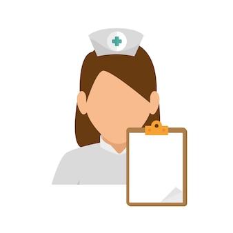 Rapport de presse-papiers de caractère infirmière fille
