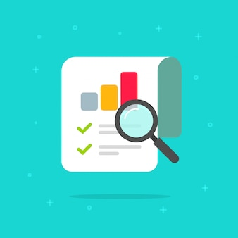 Rapport de recherche d'audit icône symbole cartoon plat