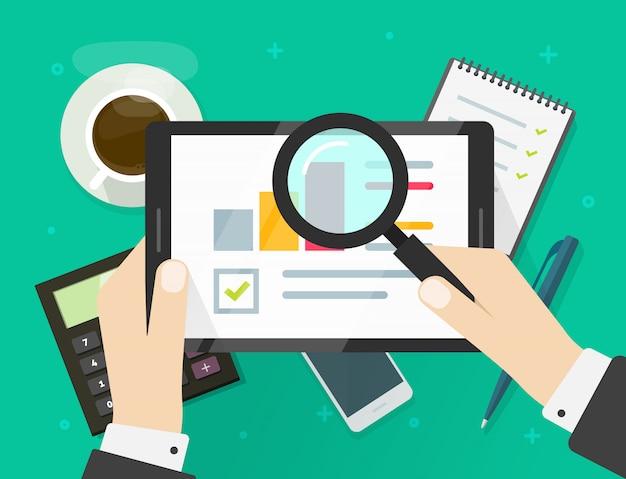 Rapport de recherche des données de vente d'audit électronique sur tablette ou statistiques d'analyse de la qualité financière avec illustration de graphiques de croissance dessin animé plat