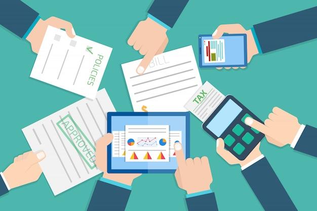 Rapport de recherche financière. examinateur financier. illustration vectorielle