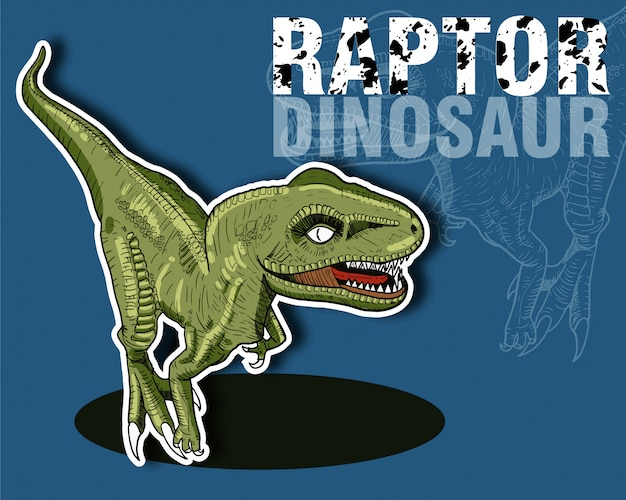 Raptor dinosaures vert sur fond bleu