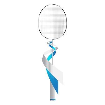Raquette de badminton en argent.