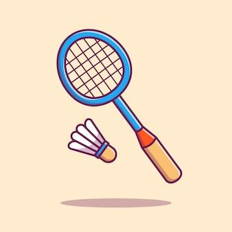Raquette de badminton avec illustration d'icône de volant. concept d'icône de sport isolé. style de dessin animé plat