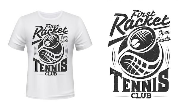 Raquette de club de tennis et impression de t-shirt de vecteur de balle